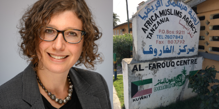 Photo of Dr. Leichtman and photo of Kuwaiti NGO sign
