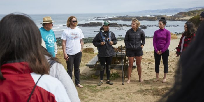 Dr. Gabriel Sanchez discusses coastal ecology with members of the Amah Mutsun Tribal Band and University of California, Berkeley students